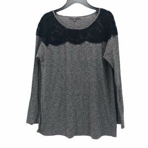 Umgee Womens Blouse Black Gray Long Sleeve Size M